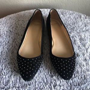 Cole Haan Black Suede Skimmer Flats W/ Studs Size7